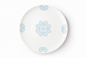 Turquoise Hearts large plate